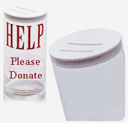 Donation Can Large Round Clear 5 x 7.5 Inch (Case of 15)