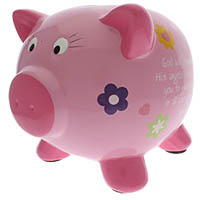 Piggy Bank Christian Inspirational Ceramic Pink