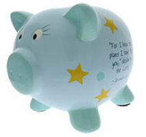 Piggy Bank Christian Inspirational Ceramic Boys Blue