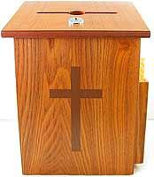Wood Church Locked Donation Offering Box with Cross