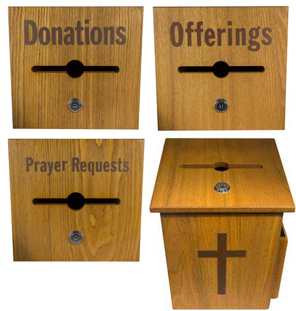 573 Wood Church Locked Donation Offering Box