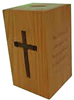 Deluxe Wood Christian Donation Bank With Cross