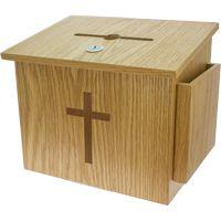 Large Wood Donation Box W Cross, Lock, Window