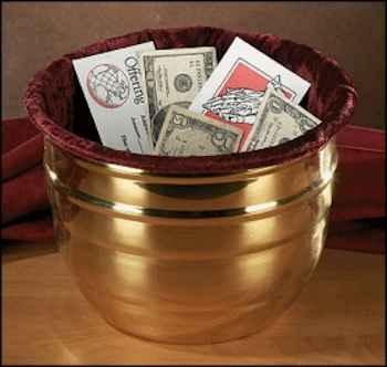 Church Offering Pot Large Golden Brass