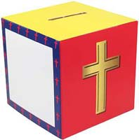 cross cardboard donation boxes