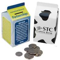 Milk Carton Bank Donation Box with Imprint