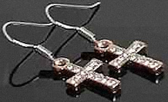 Gold Cross Earrings with Crystal Stones