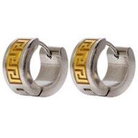 Stainless Steel Meander Pattern Earrings
