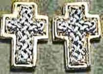 Cross Earrings Braided Gold and Silver