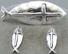 Fish w/ Cross Pendant, Earring Set