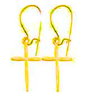 14K Gold Cross Earrings