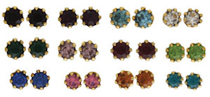 Birthstone Gold Plated Stud Earrings Jan - Dec