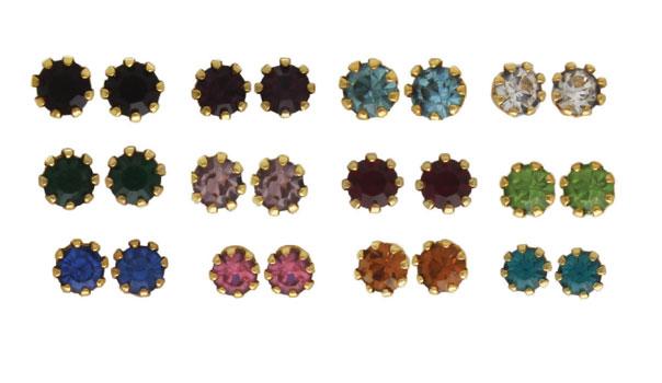 Birthstone Gold Plated Stud Earrings Jan - Dec