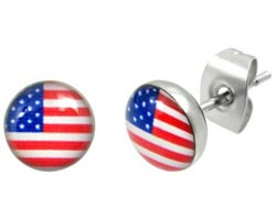 Stainless Steel American Flag Cross Earrings