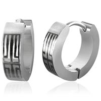 Stainless Steel Huggie Cross Earrings