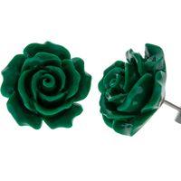 Green Rose Flower Earrings