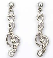 Music G Clef Rhinestone Earrings