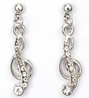 Music G Clef Rhinestone Earrings