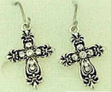 Silver Cross Earrings Antique Look