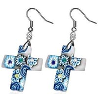 Rose Flower Cross Long Drop Hook Earrings