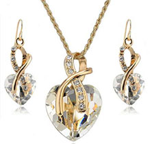 Gold Plated Crystal Heart Necklace Earrings Jewelry Sets For Women