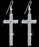 Elegant Rhinestone Cross Dangle Earrings Women's Famous Brand Jewelry Silver Plated