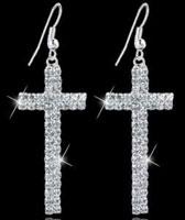 Rhinestone Cross Dangle Earrings Elegant, Silver