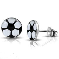 Soccer Earrings Stainless Steel