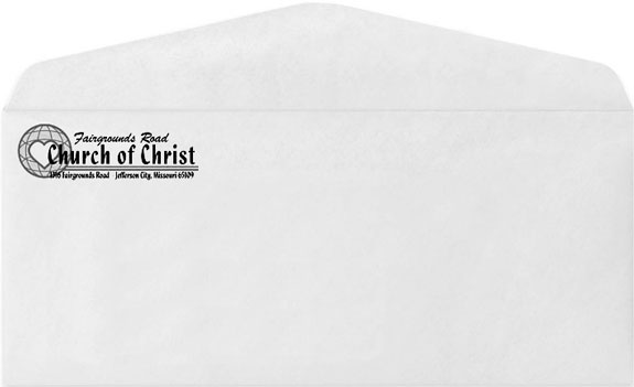 Custom printed, #10 business sized, white envelopes, printed with black ink on 1 side of the envelope.