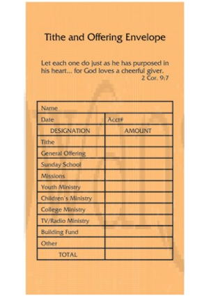 Tithe and Offering Church Envelopes (Pkg of 100)