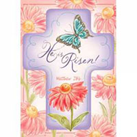 He is Risen Cross Garden Flag 2 sided