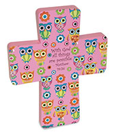 Pink Wooden Wall Cross 8 Inch