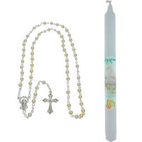 Baptism Candle and Rosary Set