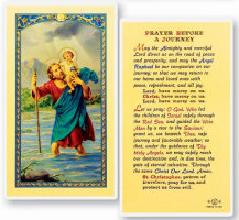 St Christopher Before Journey  Holy Card Laminated