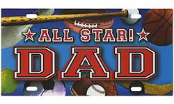 Dad All Star Auto License Plate