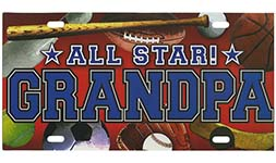 Grandpa All Star Auto License Plate