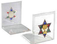 Star of David & Menorah Acrylic Bookends