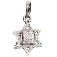 Star of David 10 Commandments Necklace Sterling Silver