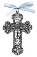 Bless The Child Who Lives Here Ornament Cross - Boy