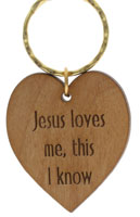 Jesus Love Key Ring Wood