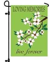 Embroidered Loving Memories Live Forever Cemetery Flag
