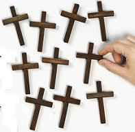 Cheap Wood Cross Dark Finish 3 1/4 Inch Tall
