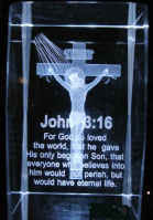 Crystal Etched John 3:16 Jesus Paperweight