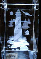 Crystal Etched Lighthouse Paperweight