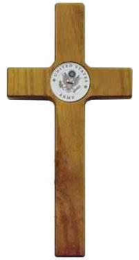 Wood Army Wall Cross 8 Inch