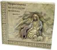 The Good Shepard Carved Stone Plaque