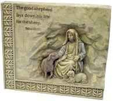 The Good Shepard Carved Stone Wall Plaque