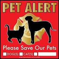 Pet Alert Red Label for Fire Fighters