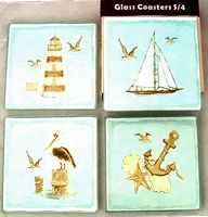 Sea Shore Nautical Glass Coaster Set 4