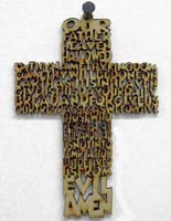 Lord's Prayer Wood Wall Cross English